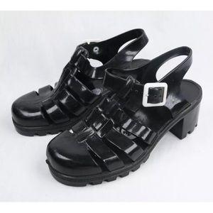 JuJu Jelly Gladiator Black Med High Heels Sandals